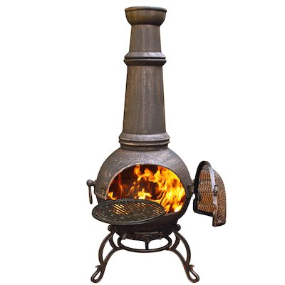 Gardeco Toledo Plain Jumbo Cast-Iron Chiminea