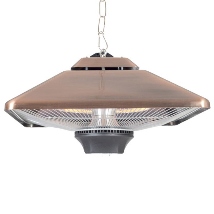 La Hacienda Copper Square Hanging Halogen 2000W Electric Patio Heater - With Light - Copper