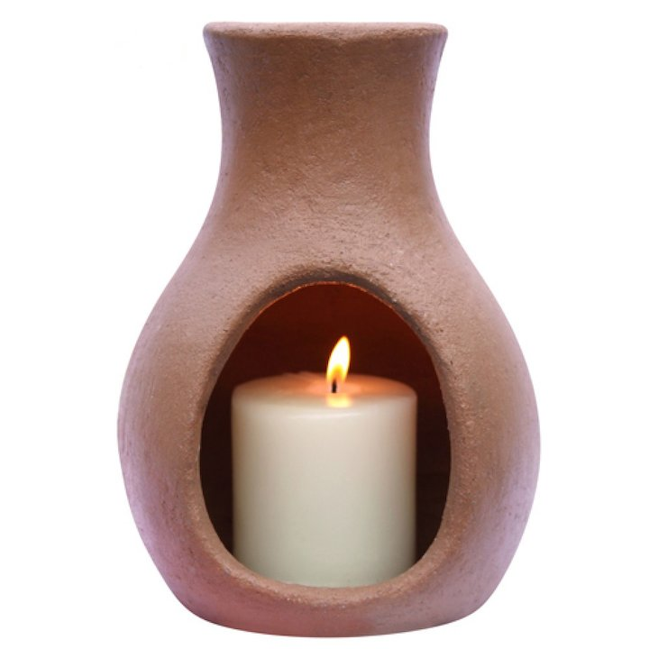 Gardeco Mini Air Elements Clay Chiminea Candle - Natural Clay