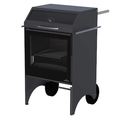 Bronpi Valencia Outdoor Wood Cooking Stove - With Oven Black Black Glass Framed Door