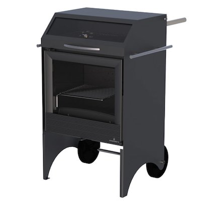 Bronpi Valencia Outdoor Wood Cooking Stove - With Oven Black Metal Framed Door