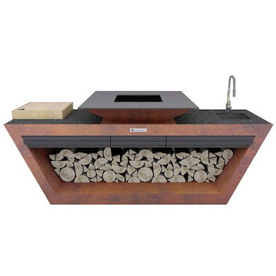 Quan Rolling Kitchen Table With Plancha Firepit and Sink