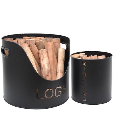 Calfire Stockholm Wood & Kindling Log Tubs - Set of 2
