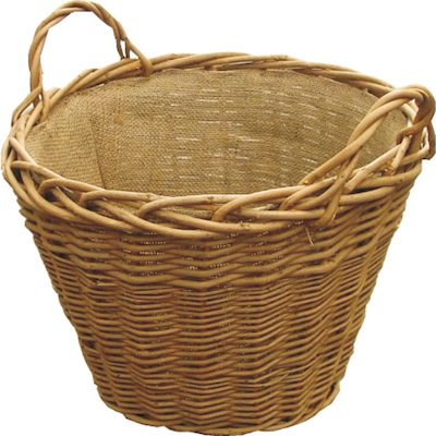 Calfire Wild Willow Log Basket Brown Hesian Liner
