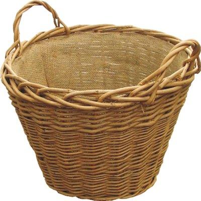 Calfire Wild Willow Log Basket Brown Hesian Liner