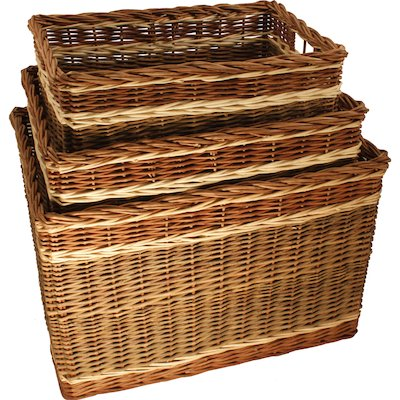 Calfire Oblong Log Baskets - Set of 3