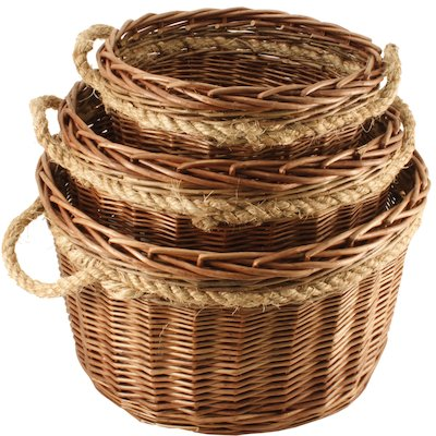 Calfire Round Log Baskets - Set of 3
