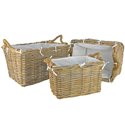 Manor Hilton Log Baskets - Set of 3