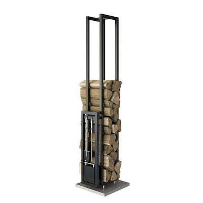 Rais Woodwall Short Freestanding Log Holder - With Fire Tools