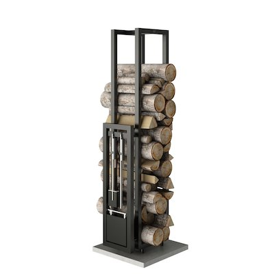 Rais Woodwall Tall Freestanding Log Holder - With Fire Tools