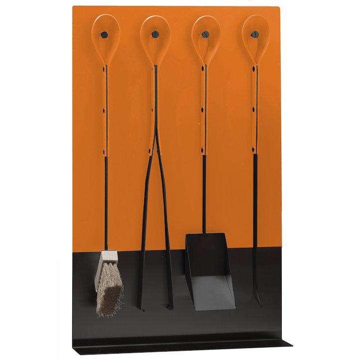 Ferrari Opus Focus Ignis Fire Tool Wall Brakcet Orange Grey Iron Stand - Orange
