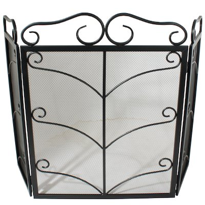 Calfire 3 Fold Decorative Wrought Iron Small Fire Screen