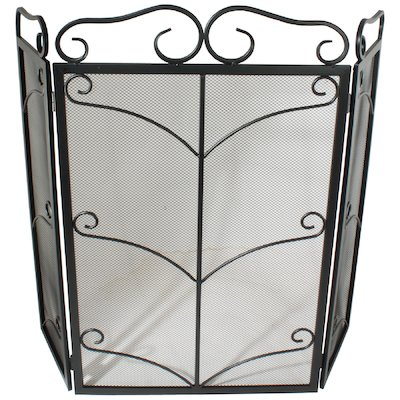 Calfire 3 Fold Decorative Wrought Iron Large Fire Screen