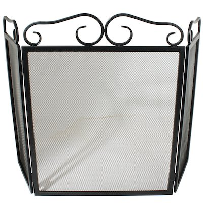 Calfire 3 Fold Plain Wrought Iron Small Fire Screen