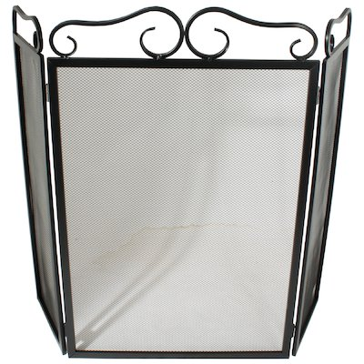 Calfire 3 Fold Plain Wrought Iron Large Fire Screen
