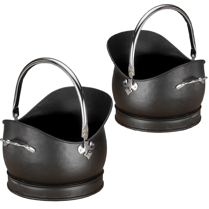 Calfire Kenley Coal Buckets - Set of 2 - Black / Chrome