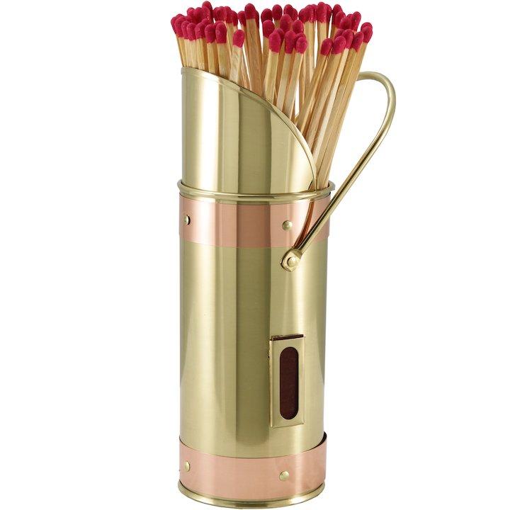 Calfire Coal Scuttle Match Holder - With Matches - Brass / Copper