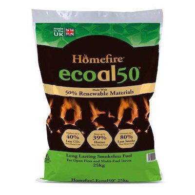EVA Homefire Ecoal Smokeless Coal Pallet - 50x 25KG Bags
