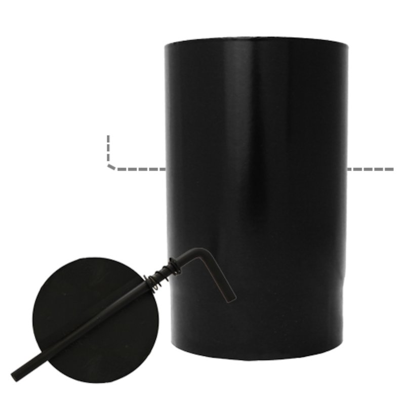 Evaflue Stove Pipe 250mm Length With Damper - Black Vitreous Enamel - Black