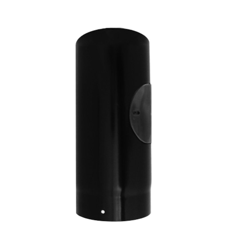 Evaflue Stove Pipe 330mm Length With Door - Black Vitreous Enamel - Black