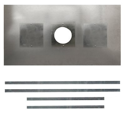 Premium Steel Register Plate 900x600 Silver Brackets with Hole & Sweeping Hatch Black Trim