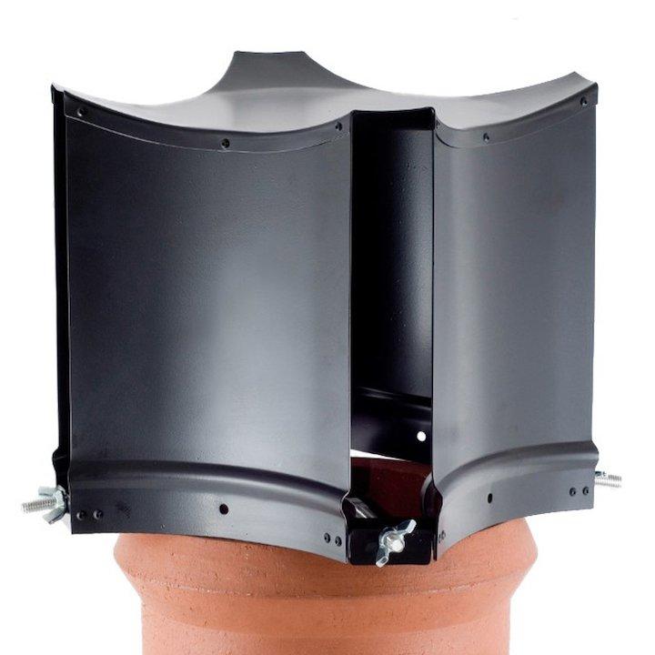 Brewer Aerodyne Chimney Cowl Black Clamp Fix - Black