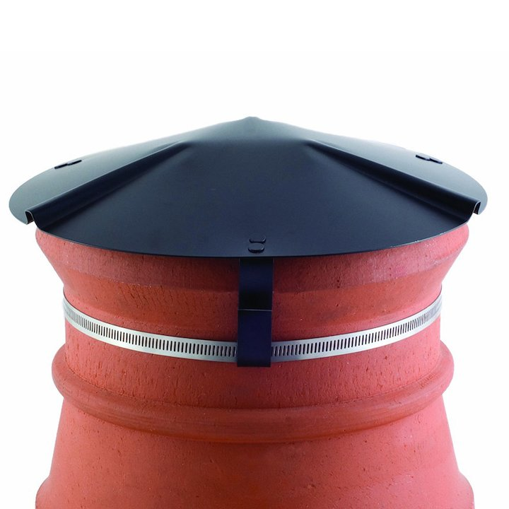 Brewer Chimney Pot Capper Black Soapstone Top & Front - Black