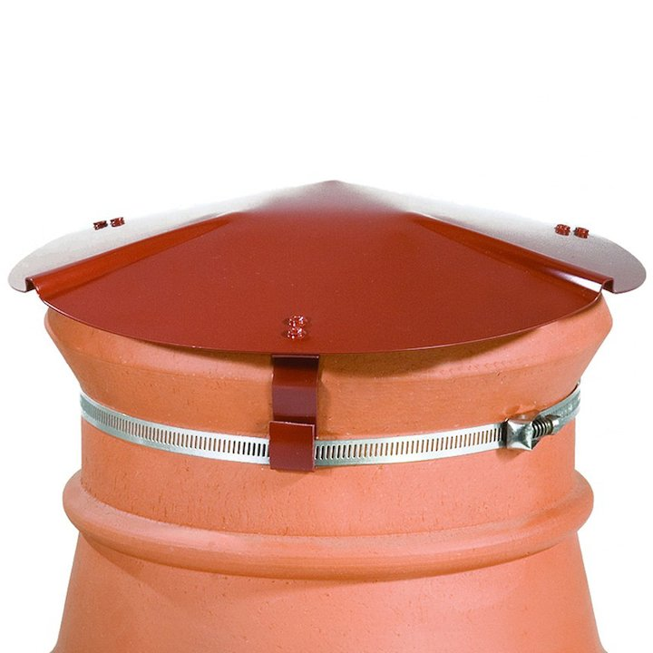 Brewer Chimney Pot Capper Terracotta Soapstone Top & Front - Terracotta