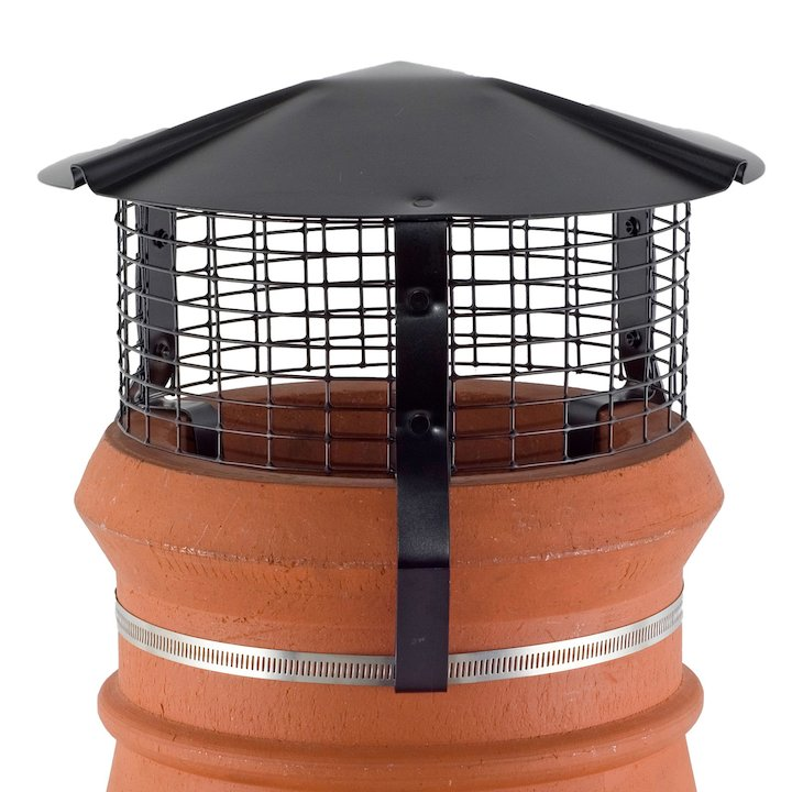 Brewer Chimney Pot Simple Birdguard Black Gas Fires - Black