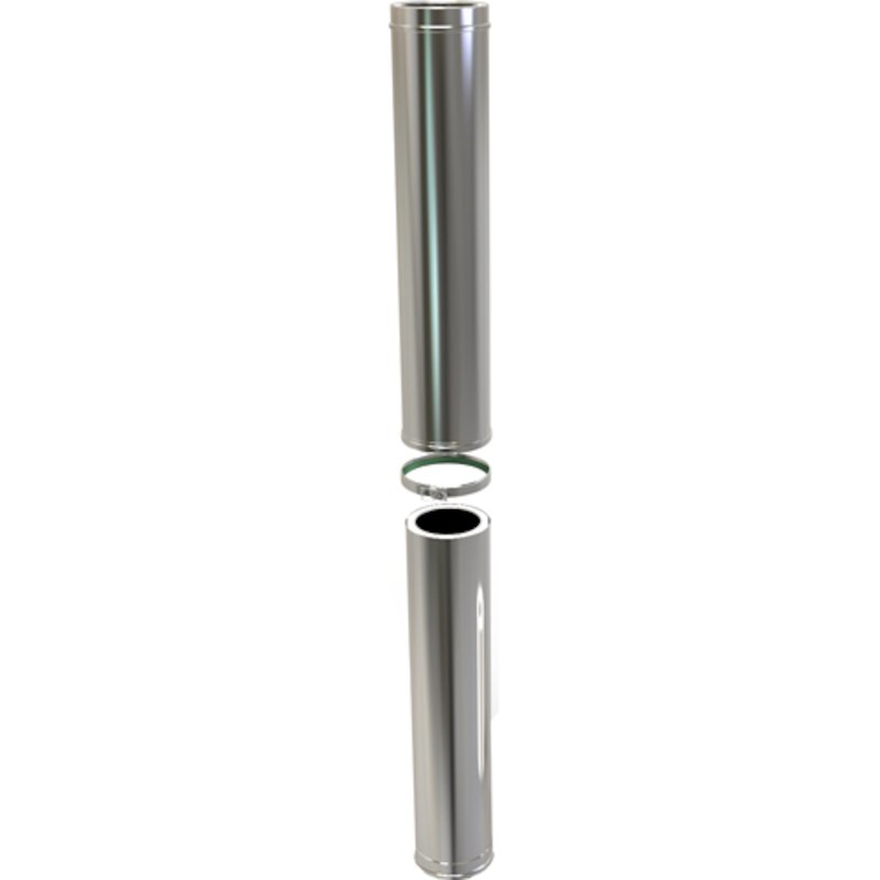Convesa KC Twinwall Flue 800-1300mm Adjustable Length - Silver Filigree