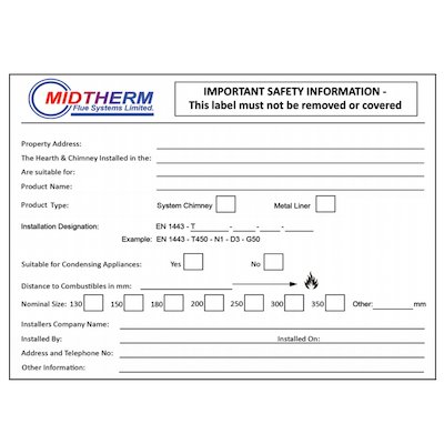 Midtherm HTS Twinwall Flue Data Plate