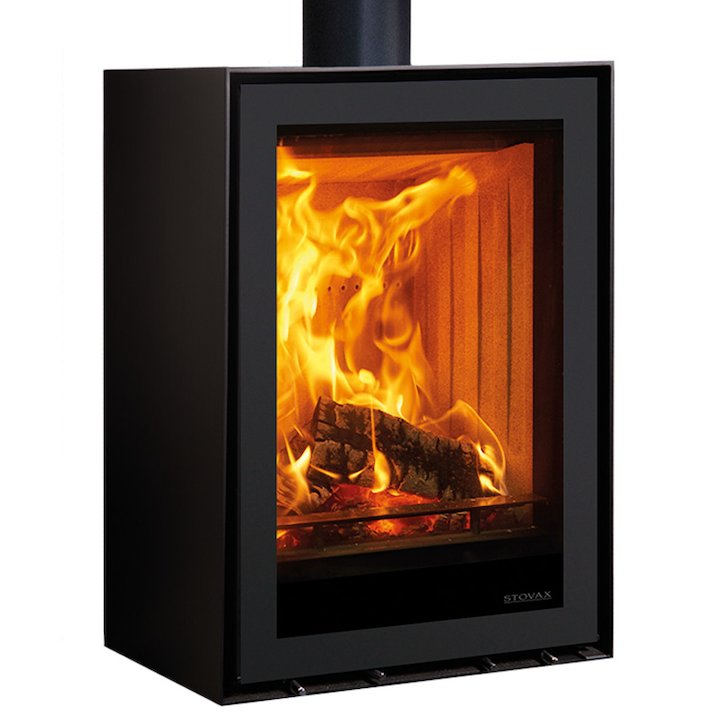 Stovax Elise 540 Tall Plinth Wood Stove - Black