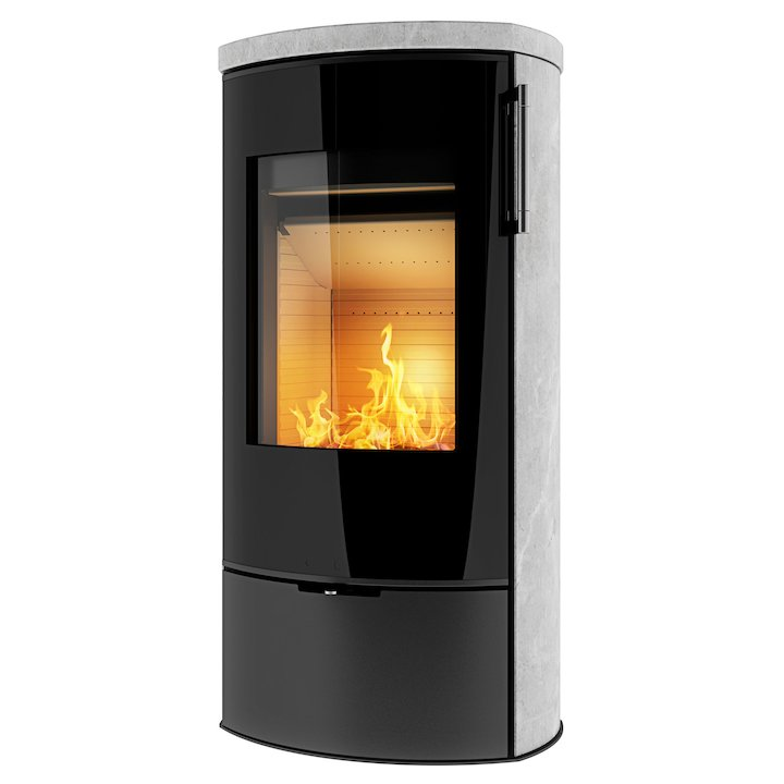 Rais Poleo II Wood Stove Black Black Glass Framed Door - Black