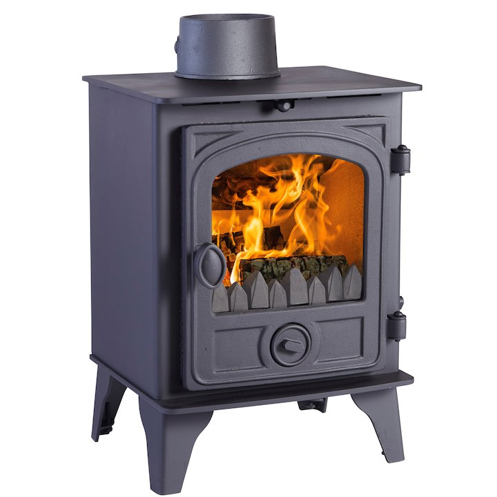 Hunter Hawk 4 Multifuel Stove Black Contemporary Door - Black