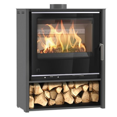 Arada i600 Slimline Midi Multifuel Stove Slate Grey Black Glass Framed Door Silver Trim