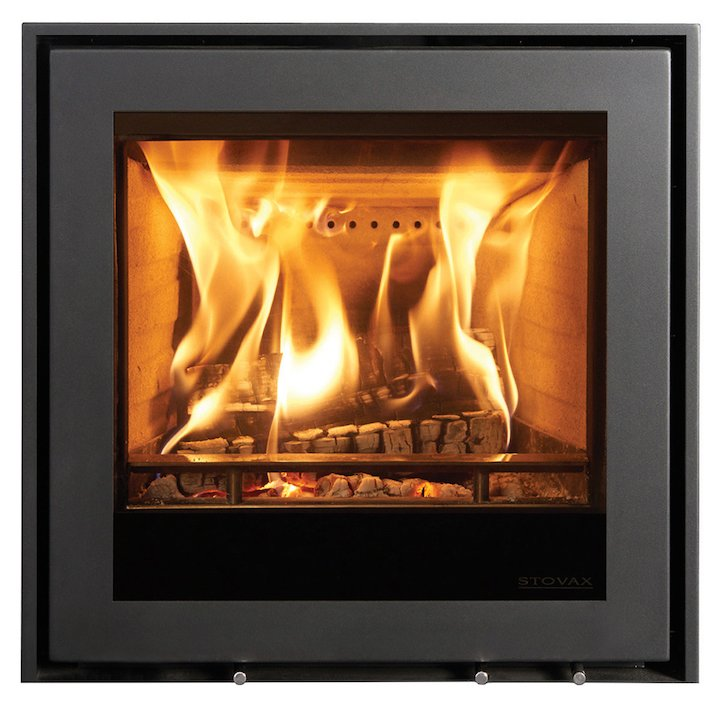 Stovax Elise 540 Multifuel Cassette Fire - Frontal Black Three Sided Edge+ Frame - Black