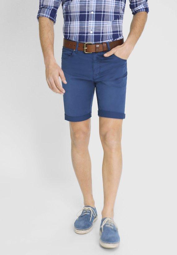 Pantalón corto slim tintado - Azul Tinta