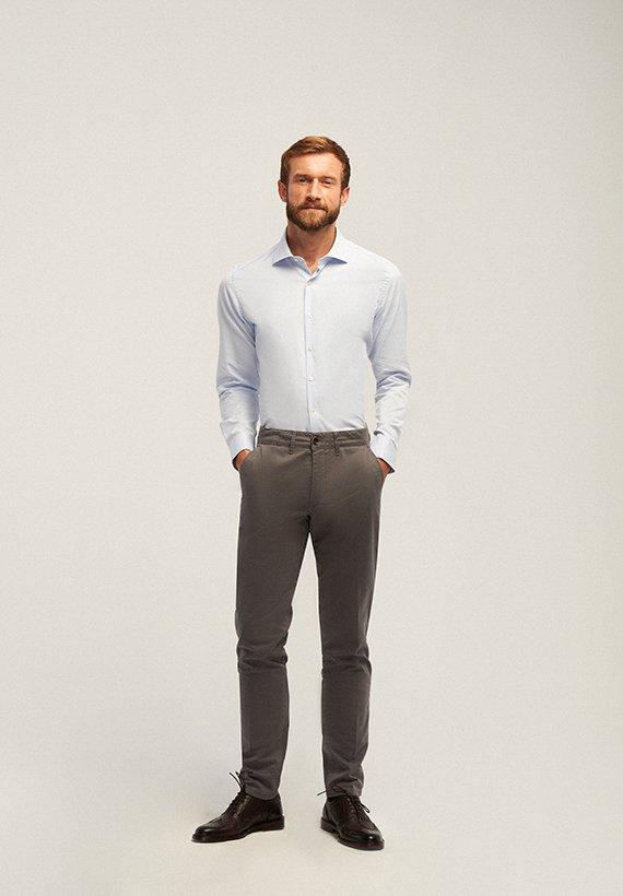 Pantalón chino slim fit microestampado - Gris Oscuro