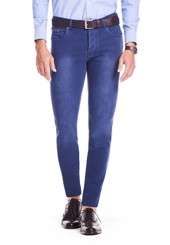 Pantalón 5 bolsillos slim algodón