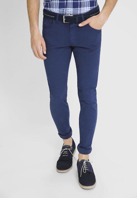 Pantalón 5 bolsillos de corte semi slim tintado - Azul Tinta