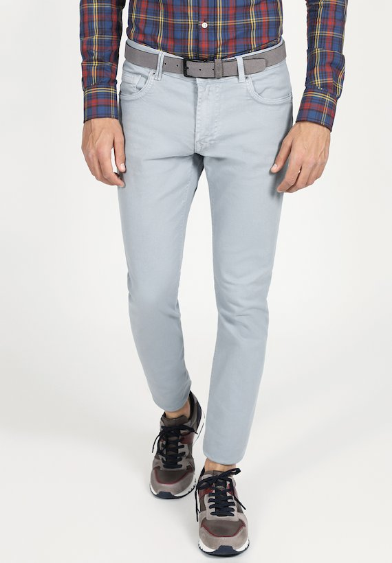 Pantalón 5 bolsillos slim twill - Gris Medio