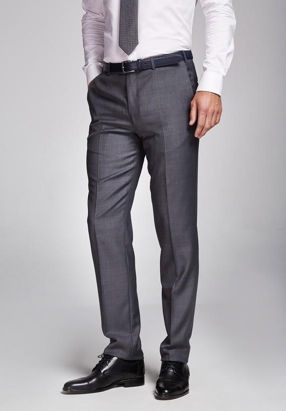 Pantalón lana regular gris - Gris