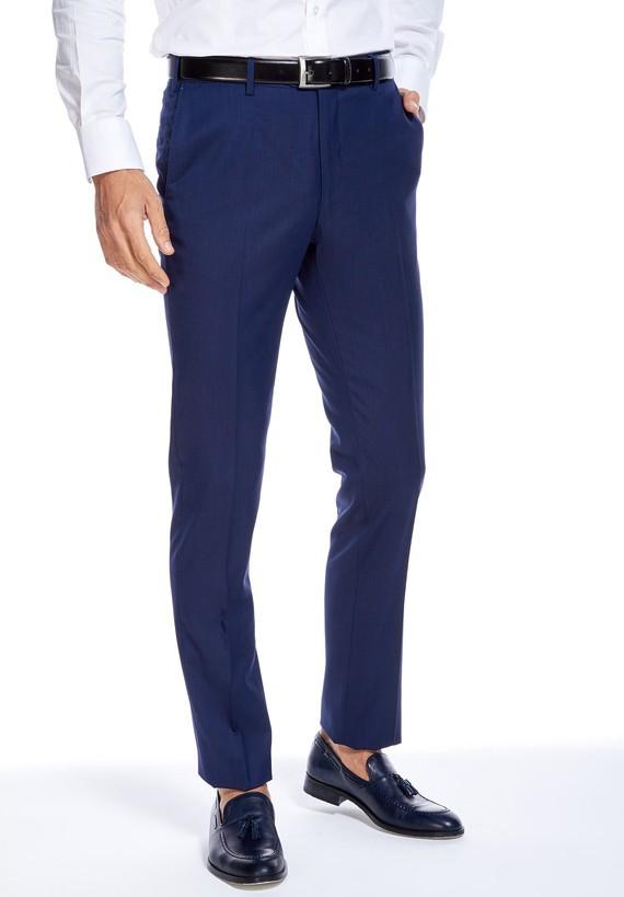 Pantalón vestir medium tejido micro estructura - Azul