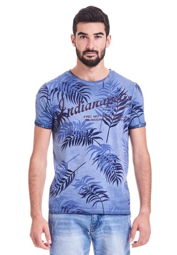 Camiseta estampada, slim fit,  de mangas cortas y cuello redondo.