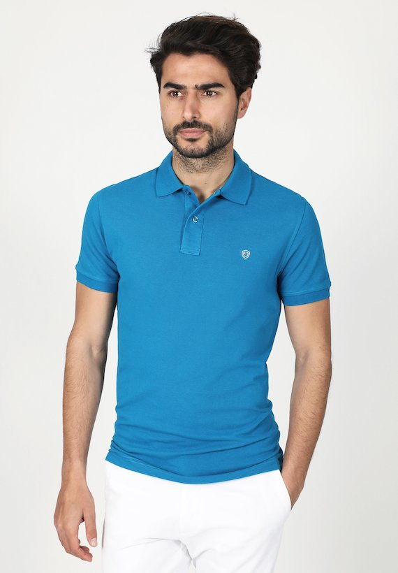 Polo regular fit de manga corta y cuello de canalé - Azul