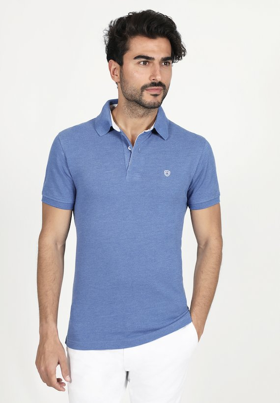 Polo regular fit manga corta piqué liso melange