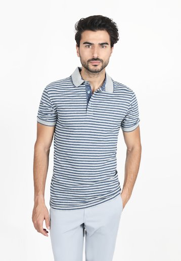 Polo regular fit  manga corta de rayas