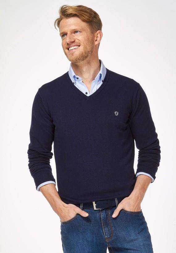 Jersey fino liso con cuello pico