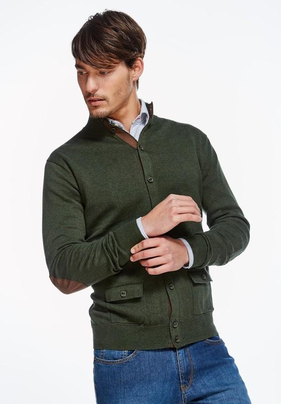 Cardigan de algodón con bolsillos - Loden