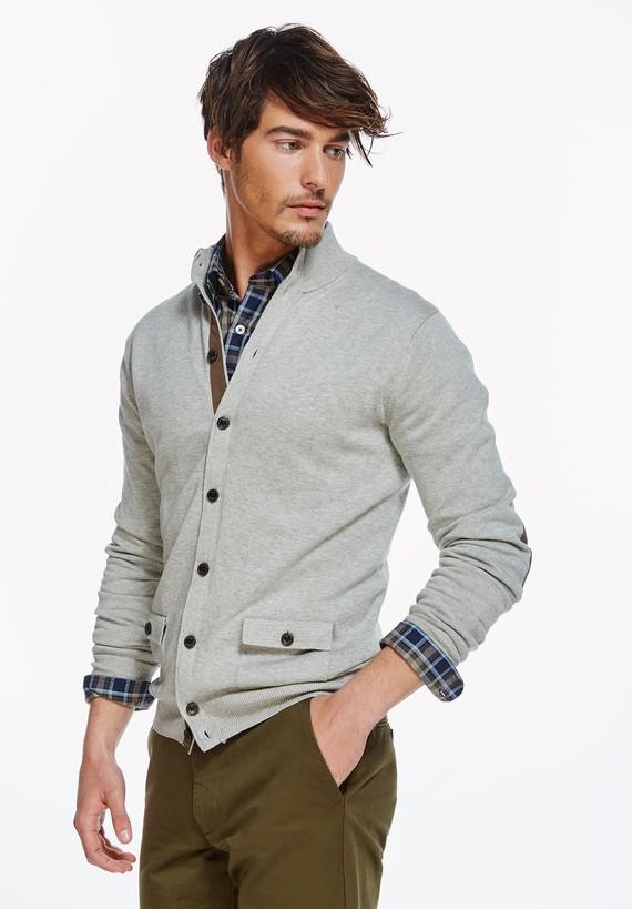 Cardigan de algodón con bolsillos - Gris